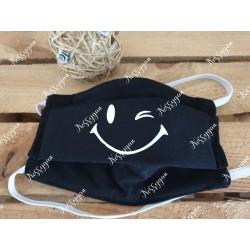 Masque de protection noir personnalisé Smile