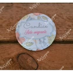 Badge romance personnalisé rond infirmière, aide-soignante, sage-femme