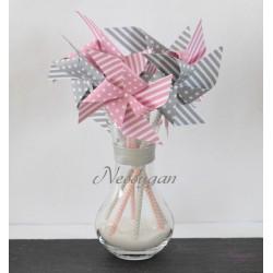 Moulins à vent x 6 étoilés rose clair & gris pour un baptême, mariage