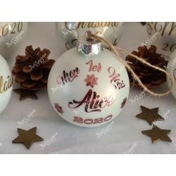 Boule de Noël en verre personnalisée flocons de neige