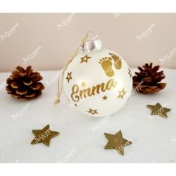 Boule de Noël en verre personnalisée petits petons