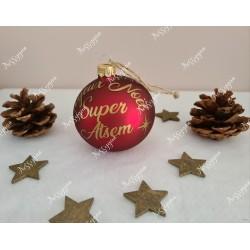 Boule de Noël rouge et or en verre personnalisée super Atsem