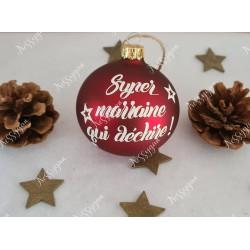 Boule de Noël rouge et blanche en verre personnalisée super marraine