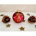 Boule de Noël rouge et or en verre danseuse étoile