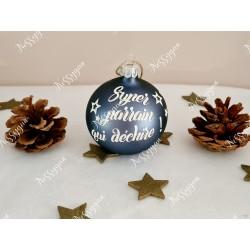Boule de Noël blanche en verre personnalisée super parrain