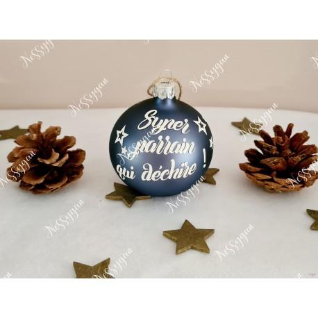 Boule de Noël en verre personnalisée super parrain