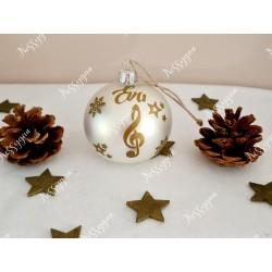 Boule de Noël blanche en verre personnalisée un air de musique