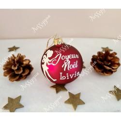 Boule de Noël en verre rouge petite fée avec prénom