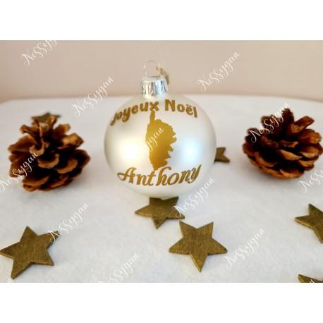 Boule de Noël en verre blanche corse aavec prénom