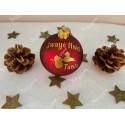 Boule de Noël en verre rouge Guadeloupe avec prénom