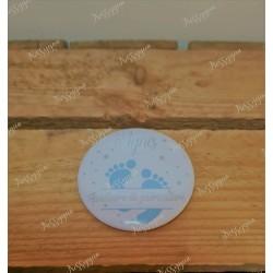 badge rond personnalisé petits petons bleus pour infirmière, aide-soignante, sage-femme