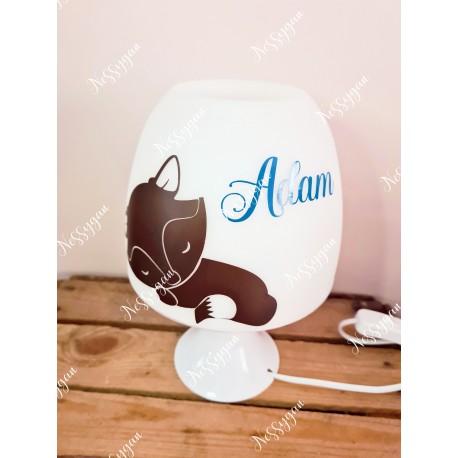 Lampe personnalisée avec prénom thème renard