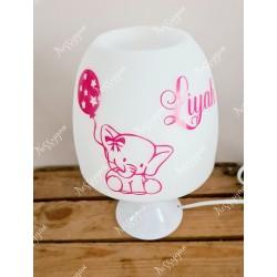 Lampe personnalisée avec prénom rose thème éléphant
