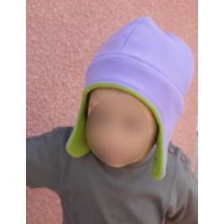 Bonnet chapka polaire enfant violet vert pomme