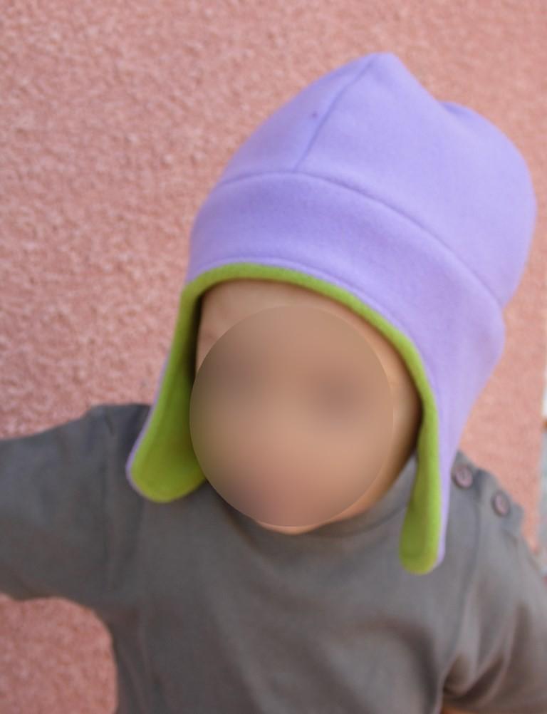 9a486013c8a8 Bonnet chapka polaire enfant violet vert pomme - Nessygan