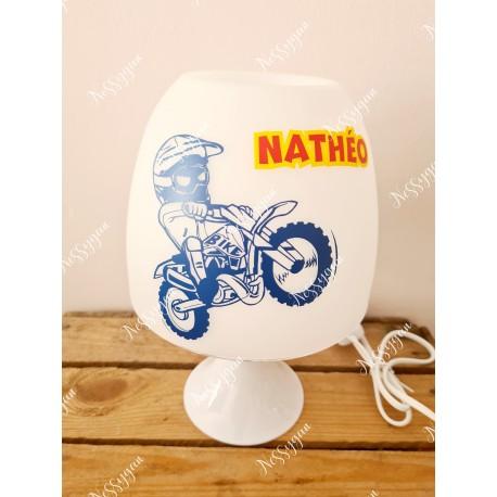 Lampe personnalisée avec prénom thème moto