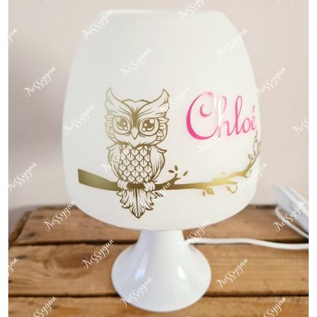 Lampe personnalisée avec prénom chouette