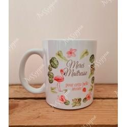 Mug personnalisé Merci maîtresse flamant rose