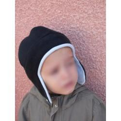 Bonnet chapka polaire enfant noir et bleu ciel