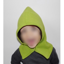 Bonnet écharpe polaire vert pomme / marron chocolat