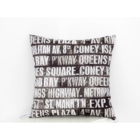"Coussin gris & blanc "" Time Square"""