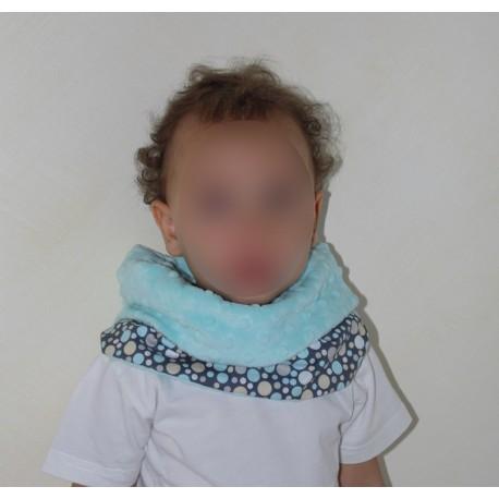 Snood / cache cou enfant polaire bleu et tissu à pois