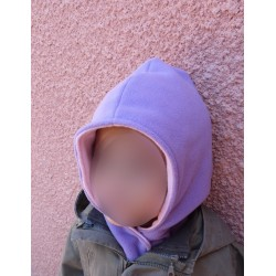 Bonnet écharpe polaire violet / rose
