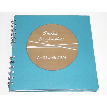 Livre d'or mariage thème gourmand bleu turquoise et marron chocolat