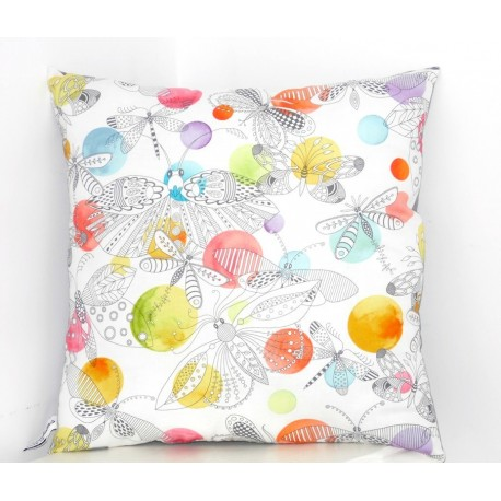 "Coussin ""The dream of butterflies "" couleur blanc, bleu orangé"