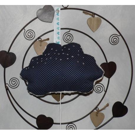 Mobile musical nuage bleu et blanc pour bébé