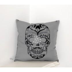 """Coussin """"Skull """" déco gris & noir"""