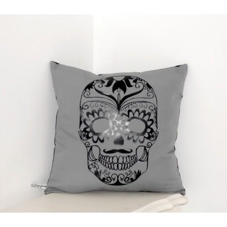 """Coussin """"Skull """" gris & noir"""