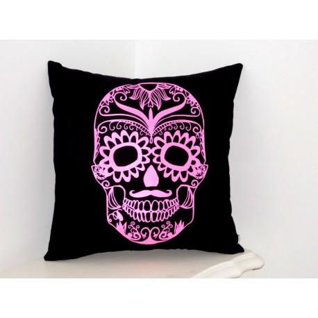 """Coussin noir et rose flashy """" Skull """""""
