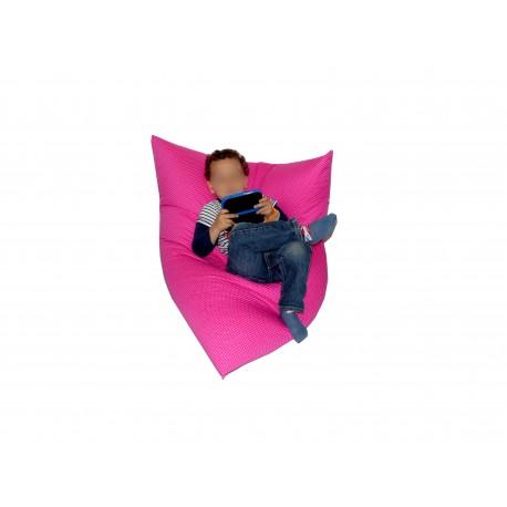 Pouf rose à pois blanc pour enfant