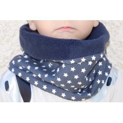 Snood / tour de cou enfant bleu avec étoiles blanches