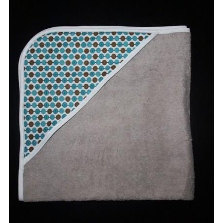 Sortie de bain bébé grise et tissu imprimé