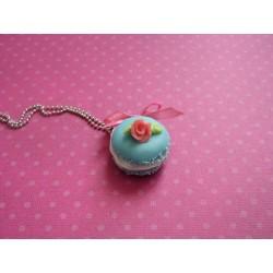 Sautoir Macaron gourmand bleu ciel & sa rose