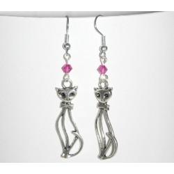 Boucles d'oreilles chats et perles fuschia cristal Swarovski