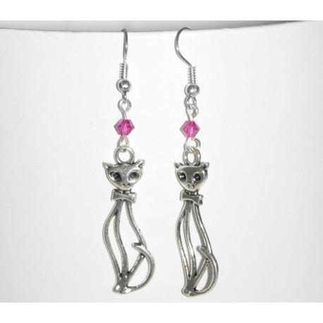 Boucles d'oreilles chats et perles fuscchia cristal Swarovski