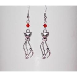 """Boucles d'oreilles chats et perles """"Fire Opal' cristal Swarovski"""