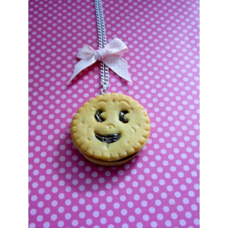 Collier biscuit sourire chocolat