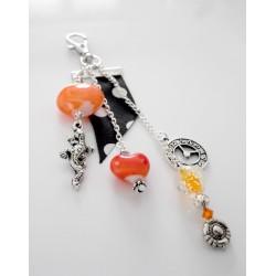 Bijou de sac perles de verre et cristal orange