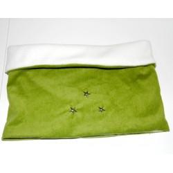 Snood / tour de cou velours milleraies vert et étoiles