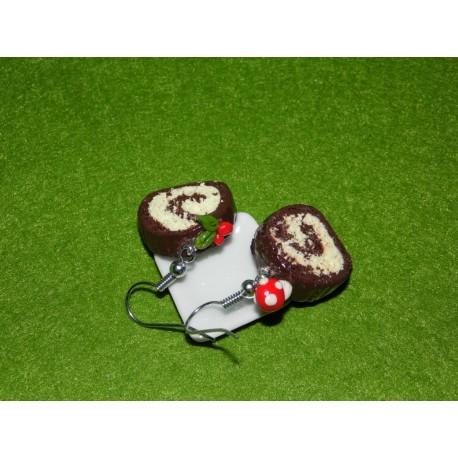 Boucles d'oreilles bûche de Noël chocolat