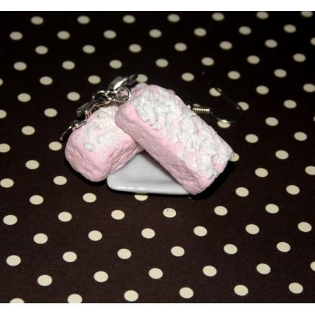 Boucles d'oreilles biscuit rose de Reims