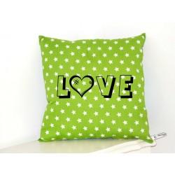 "Coussin étoiles blanches fond vert ""Love"""