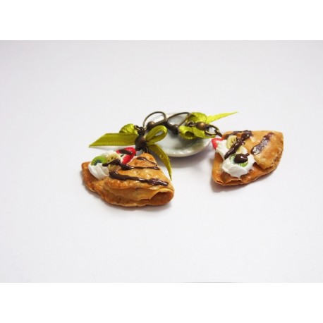 Boucles d'oreilles crêpes gourmandes chantilly