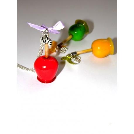 Collier pomme d'amour couleurs aux choix