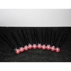 épingles à cheveux perles roses pour mariée x10 - Accessoire coiffure mariée