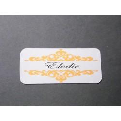 Étiquette prénom pour marque-place mariage baroque x20